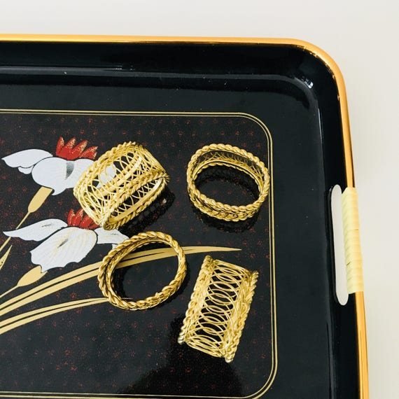 Vintage Brass Napkin Rings Set of (4) Hollywood Regency Gold Wire Brass Napkins Holders