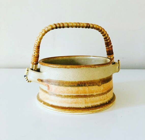 Vintage Stoneware Basket Handmade Beige Brown Peach Striped Ceramic Bowl with Rattan Handle Boho Decor