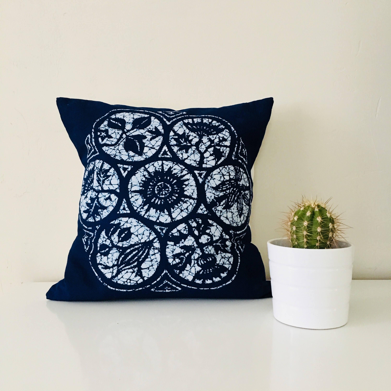 Top Boho lndigo Batik Pillow Cover 18x18 Square Cushion Pillow Ethnic  BJ78