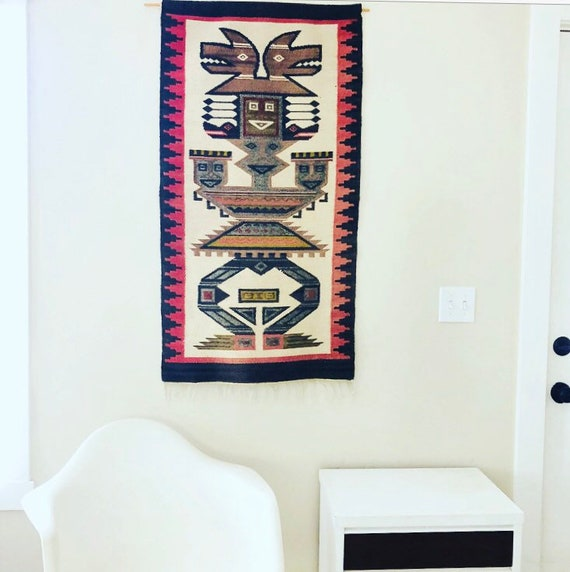 Vintage Kilim Aztec Wall Hanging Woven Wool Geometric Tribal Textile Wall Art Bohemian Tapestry Boho Decor