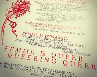 Poster - Femme is Queer Queering Queer (12x18)