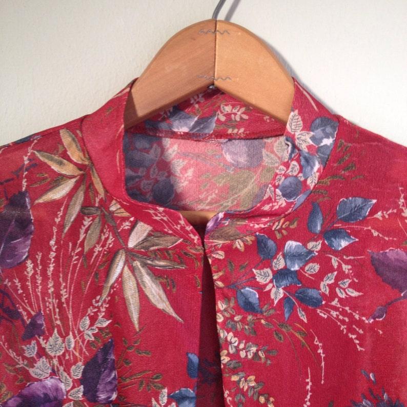 70/'s Vintage Sheer Open-Front Floral Blouse ML