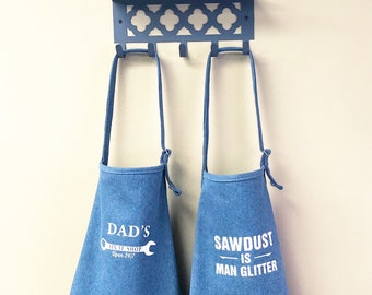 Personalized Apron - Fathers Day Apron - Denim Apron - Mens Apron - Dad Gift - Aprons With Pockets - Custom Apron - Gifts For Dad
