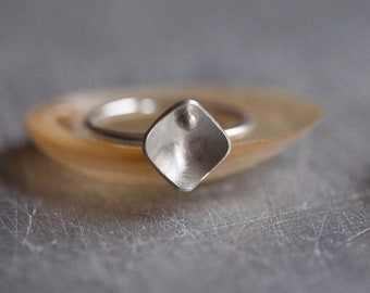 Square Ring - Sterling Silver Stacking Ring - Jewellery Gift For Niece