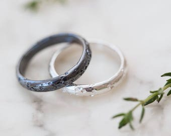 Sugar Personalised Wedding Ring - Silver or Gold Wedding Rings - Personalized Promise Ring