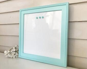 Dry Erase Whiteboard, Cottage Farmhouse Sky Blue Frame, Homeschool Magnetic Bulletin Board, Handmade Wood in San Clemente Teal CHOOSE COLOR
