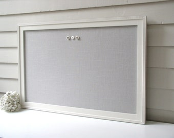 """Linen BULLETIN BOARD - MAGNETIC Framed Magnet Memo Board in Pale Gray Fabric - 20.5 x 26.5"""" with Handmade Frame - Message Board"""