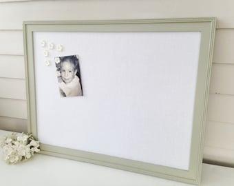 "Linen BULLETIN BOARD - MAGNETIC Framed Magnet Memo Board in French Gray Handmade Frame 20.5 x 26.5"" and White Linen Message Board Magnets"