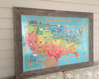 MAGNETIC US Map Dry Erase Bulletin Board United States Vacation Travel Tracker Board in Barnwood Frame 29.5 x 41.5 Handmade Frame Made USA