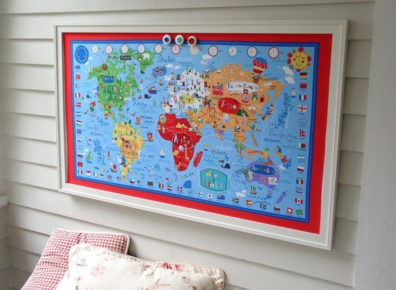 World Map Bulletin Board Kids Magnetic Memo Board With Red Etsy