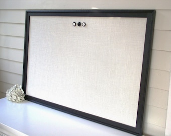 Extra Large Magnetic Bulletin Board - Framed Memo Board 26.5 x 38.5 Ivory Burlap and Handmade Wood Frame Message Board in Black with Magnets