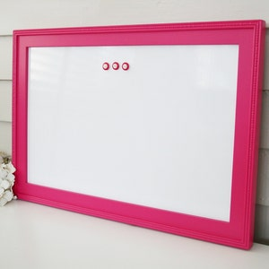 Dry Erase Whiteboard Magnetic 15 x 22 inch Bulletin Board with Handmade Hardwood Frame in Pink Girls Room CHOOSE COLOR and CHALKBOARD