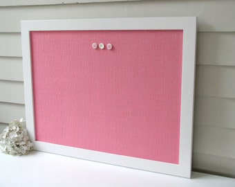 Modern Magnetic Burlap Bulletin Board 20.5 x 26.5 inches with Handmade White Wood Frame - Pink Magnet Board - Fabric Covered Memo Board