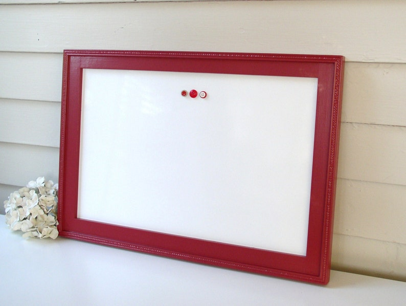 Magnetic Dry Erase Board in Pomegranate Red - Whiteboard Bulletin Board 15  x 22 inch with Handmade Frame and Handmade Magnets