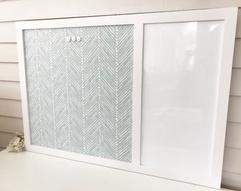 Magnetic Dry Erase Whiteboard Message Center, 26.5 x 38.5 Bulletin Board Handmade Hardwood White Frame YOU CHOOSE COLORS Aqua Blue Fabric