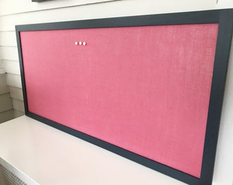 Extra Large Magnetic Bulletin Board, Long Narrow Memo Board, Executive Office Message Board, Framed Fabric 26 x 52 in, Navy Blue Pink Office