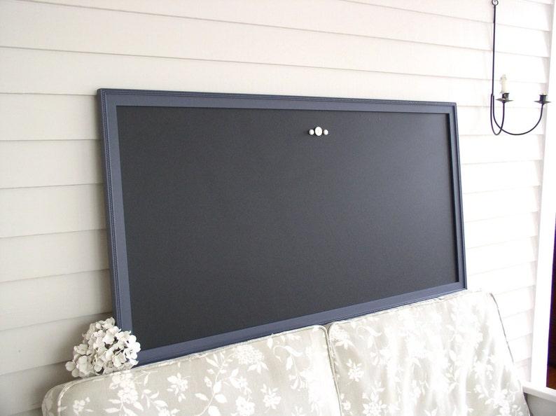 HUGE Magnetic Chalkboard Navy Blue Handmade Fram Restaurant Menu Board 26 x 50 Office Bulletin Board Home Corporate Office Conference Room