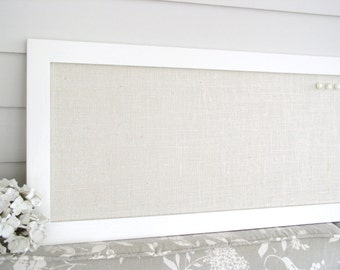 Extra Long Burlap Bulletin Board - Creamy White Neutral Magnetic Organizer - 14 x 50 Narrow Magnet Board w/ Fabric and Modern Hardwood Frame