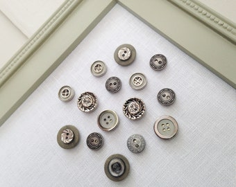 Vintage Style Button Magnets - Metallic Set of 12 Extra STRONG Magnets in Silver and Gray For Magnetic Memo Bulletin Boards