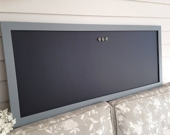 """Magnetic Chalkboard - Gray Neutral Designer Restaurant Menu Board 19 x 45"""" Office Bulletin Board Home or Corporate Office Conference Room"""