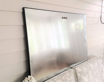 Steel Metal Dry Erase Magnetic Bulletin Board Industrial Modern Office Large Solid Wood Frame 26.5 x 38.5 Galvanized Steel CHOOSE COLOR