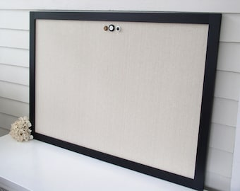 MAGNETIC BULLETIN BOARD - 26.5 x 38.5 Large Deluxe Office Memo Board in Natural Taupe Unbleached Cotton and Handmade Black Hardwood Frame