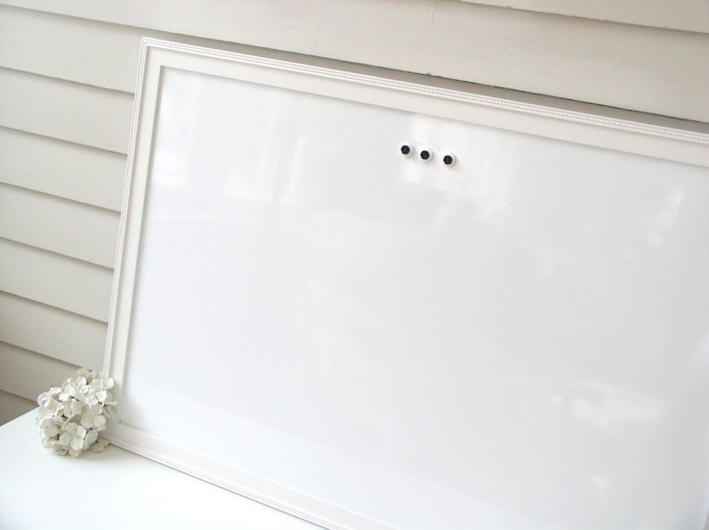 Extra Large MAGNETIC Board Solid Wood Framed Memo Board Deluxe Handmade White Beaded Frame and Button Magnets DRY ERASE Whiteboard