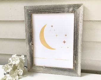 Moon and Stars Framed Art, BOHO Neutral Minimalist, Midcentury Modern Barnwood Frame Print, Warm Golden Yellow, Simple Wall Art, Night Sky