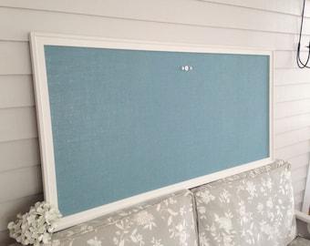 "HUGE Blue Fabric Magnetic Bulletin Board - 26 x 52"" Burlap Magnet Board for Family Room Office - Oversized Hand Built Framed Cottage Style"