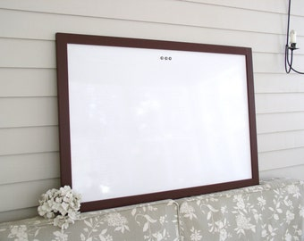 DRY ERASE Whiteboard - Extra Large MAGNETIC Board - Solid Wood Framed Memo Board - Deluxe Modern Handmade Frame and Vintage Button Magnets