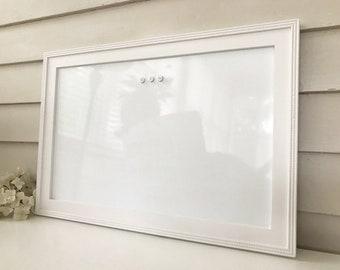 "Farmhouse Magnetic Dry Erase Board, Whiteboard Bulletin Board, 15 x 22"" Handmade Solid Wood Frame, Pure White Memo Magnet Board CHOOSE COLOR"