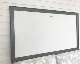 X-LARGE Bulletin Board, Solid Wood Gray Frame Designer Fabric Magnetic 35x60 FURNITURE GRADE Handmade Wood Frame, Memo Board in Ivory Burlap