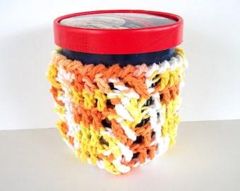 Ice Cream Cozy Sunny Summer Citrus Pint Size Cotton Crochet Cables Orange, Lemon Yellow, White Ready To Ship