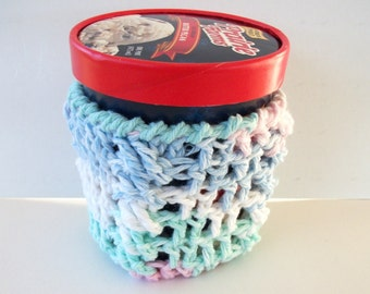 Cotton Ice Cream Cozy Pint Size Pastel Crochet Cables Blue Mint Green White Pink Ready To Ship
