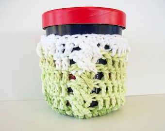 Cotton Ice Cream Cozy Pint Size Key Lime Pie Green Crochet Cables Ready To Ship