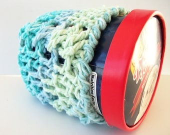 Cotton Ice Cream Cozy Pint Size Sea Blue Crochet Cables Blue Green Ready To Ship