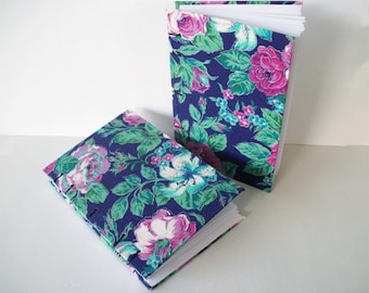 Silver Edged Flower Covered Notebook, Bullet Journal, Lay Flat Coptic Bound, Hardcover Book with Roses and Leaves Floral Fabric Covered Book