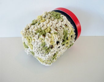 Avocado Green Cabled Ice Cream Cozy Pint Size Cotton Crochet Cables Ready To Ship