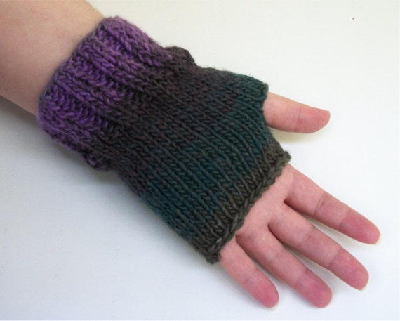 Knitting Pattern One Skein Easy Ribbed Fingerless Gloves Etsy