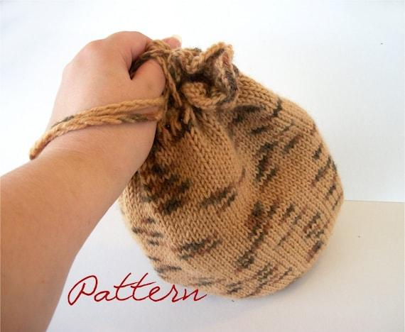 Knitting Pattern Pdf Round Knitted Drawstring Bag Wristlet Etsy