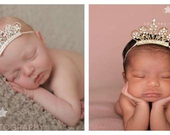 Baby tiara, TWO, twins, gold tiara, silver tiara, baby tiara headband, baby crown headband, tiara headband, flower girl tiara, newborn tiara