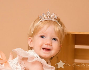 Baby Girl Princess Tiara Pearl Crystal Crown Headband Hair Band Sale Beautiful