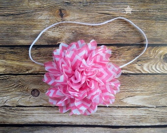 Baby elastic headband, pink, chevron, baby headband, infant headband, newborn headband, baby girl, headband, headband infant, pink chevron