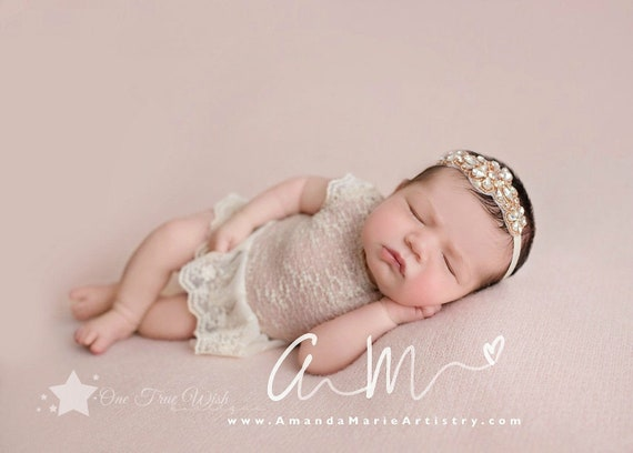 Antiqued Pearl Rose Gold Baby Girl Bow Headband Newborn Headband Planners /& Journals Bohemian Photography Props Adjustable Headband