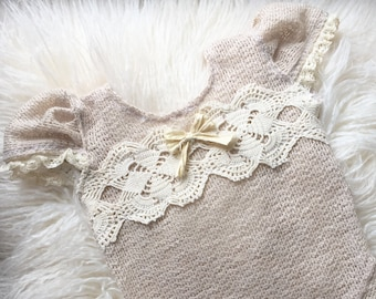 Newborn Neutral Knit Romper with Lace, Baby Girl, Clothing, Onesie, Sweater Knit, Vintage, Beige, Ivory, Bow, Photography Prop