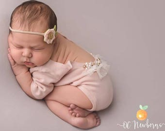 Newborn Pale Pink Short Sleeve Romper, Onesie, Beaded, Sweater Knit, Photography Prop