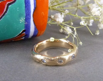 AURORA RING, Golden bronze ring inlayed with sparkling stones around the circumference, Organic Stackable Ring, Stacking Ring