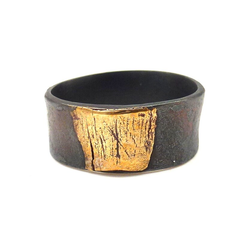 76b6f528a898 Wide Mixed Metal Ring Bronze and Steel Band Ring Modern