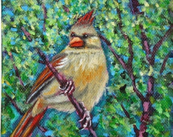 "Yellow Cardinal Original Acrylic Painting on Canvas, Miniature Painting, Spring Bird Painting, 4 x 4 x 1.5"" deep, Yellow, Green, Red"