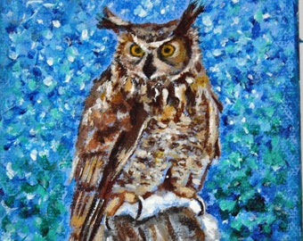 """Owl Original Acrylic Painting, 4x4"""" Canvas, Great Horned Owl Painting, Woodland Owl, Owl Wall Art, Hand Painted, Brown, White, Blue,"""